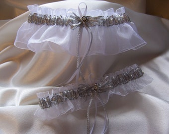 Elegant Silver and White Wedding Garter Set
