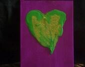 HyPOPlastic and GLITTER original mixed media heart painting 5x7
