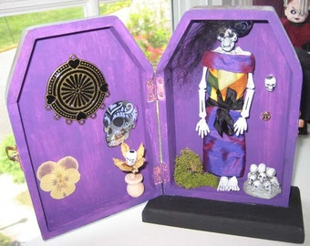 AlTerEd aRt dia de los muertos DaY of the DeaD Juanita Tomb OOAK