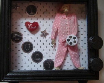 AlteRed aRt I LoVe LuCy 1950s TV Wood ShAdowBoX LuCy RiCaRdO WaLL DeCoR OOAK SkElEToN