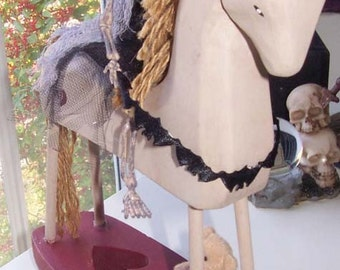 AlteRed aRt DeaDTimE StorieS RoCkInG HoRsE OOAK SkElEtOn BeAR