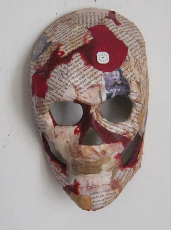 AlteRed ArT ThE MaSqUe of ReD DeAtH EdGaR A. pOe SkuLL WaLL DecOr OOAK