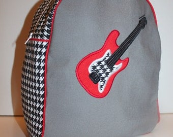 Custom Made Grey, Black & White Houndstooth, and Red Backpack for a Preschooler - shown with Guitar Applique