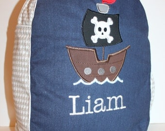 Custom Made Navy with Grey/White Houndstooth Children's Backpack - shown with Pirate ship applique