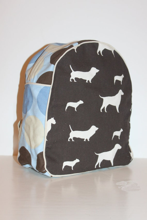 Dogs with Dots and Stripes Backpack for a Toddler- Ready to Ship