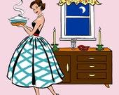 Retro Kitchen Dining Room Print, 50's Fashionista,  8x10, pink