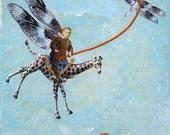 "COLLAGE PRINT - ""Air Show"", children's room, wall decor, print, 8"" x 10"",  blue, giraffe, wings, dragonfly, vintage boy"