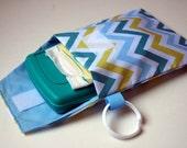 SALE - Teal Blue Chevron Zig Zag Link Loop Diaper Bag - Diaper and Wipes Stroller Organizer