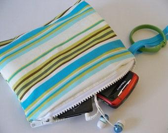 SALE Mini Zippered Wet Bag with Handle/Link Loop Combo  - River Stripe