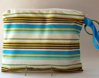 SALE Zippered Wet Bag with Handle/Link Loop Combo - River Stripe