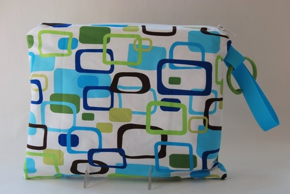 SALE Zippered Wet Bag with Handle/Link Loop Combo - Frames  (blue green)  Free Shipping