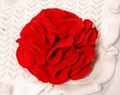 SALE - Red Carnation Flower Pin - Reclaimed Tshirt - SALE