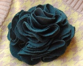 SALE - Forest Green Carnation Flower Pin - Recycled Tshirt - SALE
