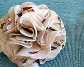 SALE - Fall Leaves Carnation Flower Pin - Recycled T-Shirt - SALE