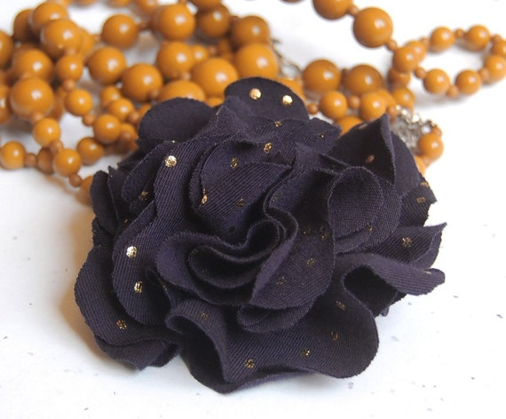 Carnation Flower Pin - Navy with Gold Dots - Recycled Tshirt