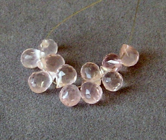 Rose Quartz Drop Faceted Briolette 9-10mm - 10 Beads