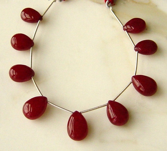 Ruby Red Quartz Faceted Large Focal Briolettes