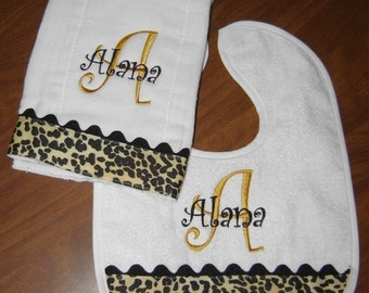 Leopard Bib and Burp for the Diva in every little girl