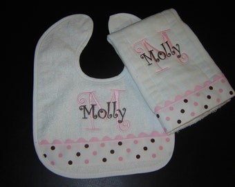 Pink and Brown Dotted Bib and Burp Set