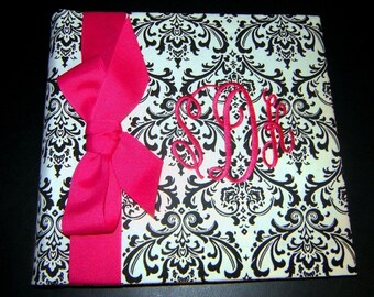 Photo Album in Damask with three letter or single letter monogram in magenta, lime or your favorite color