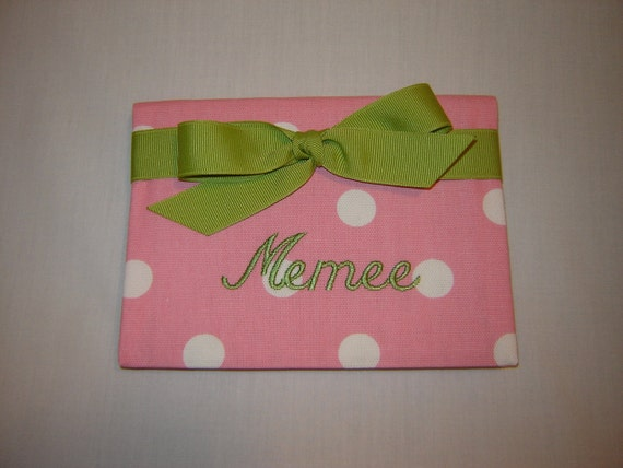 Purse Size Photo in Pink and White Dot with Kiwi Accents