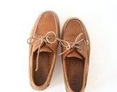 size 7.5 vintage Bass brown leather boat shoes