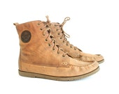 size 8.5 brown leather DECK BOOTS