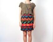 vintage colorful southwestern skirt  L