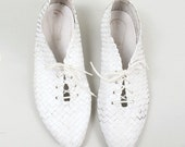 Sz 8.5 Vintage White Italin Leather Woven Oxford Shoes