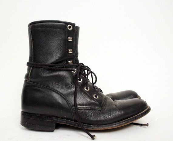 Size 6 Black Leather Grunge Boots