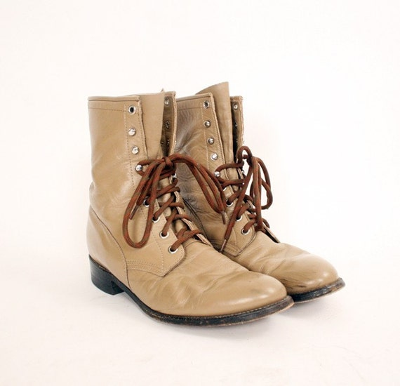 vintage leather lace up boots mens 8 womens 10
