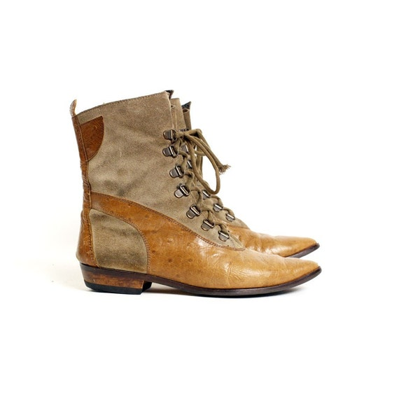 skin 6.5 ostrich SKIN lace up boots 37