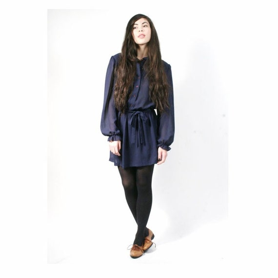 vintage sheer navy blue secretary EYELET dress L