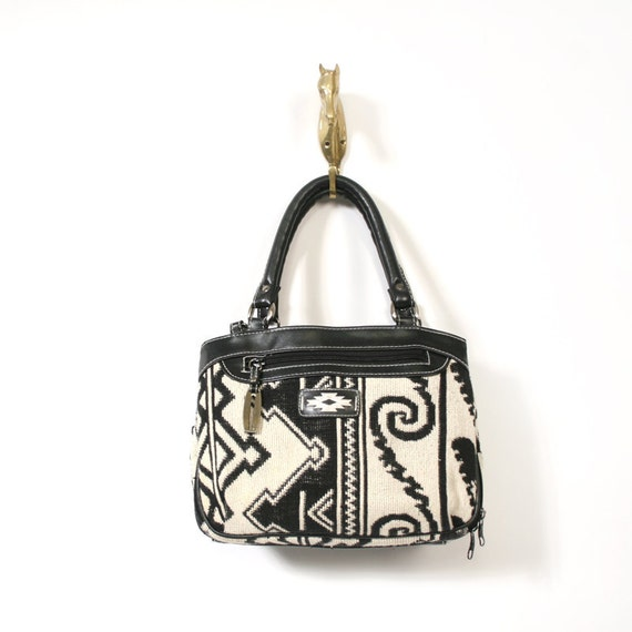 vintage black and white tapestry handbag