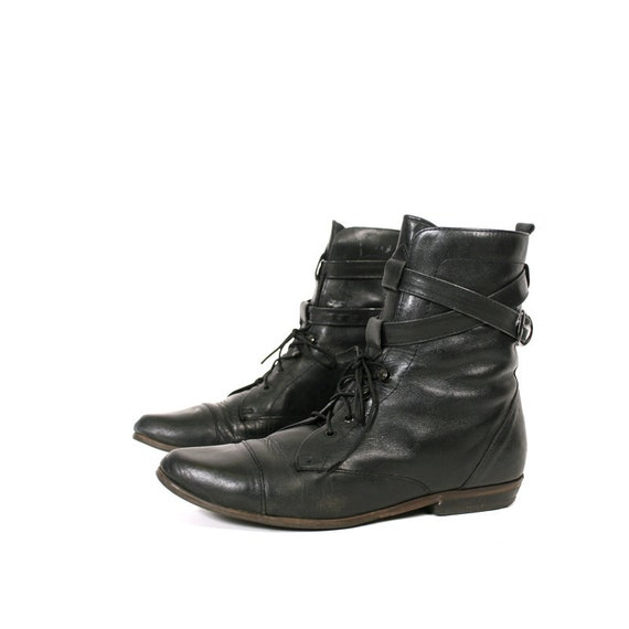 size 8.5 black leather lace up boots 39