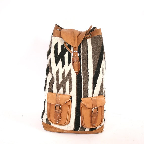 vintage wool and leather backpack