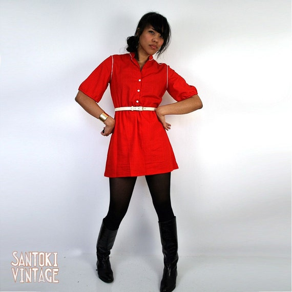 on hold  - - - Size Medium Cutest Red Mini Dress With White Piping - S