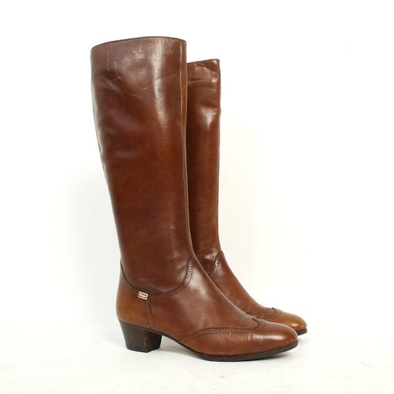 vintage size 6.5 WINGTIP brown leather FERRAGAMO riding boots