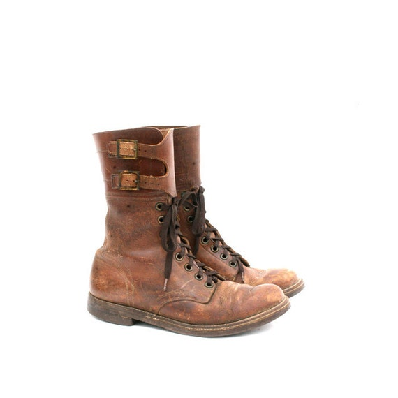 size 8 brown leather 40s style work boots 38.5