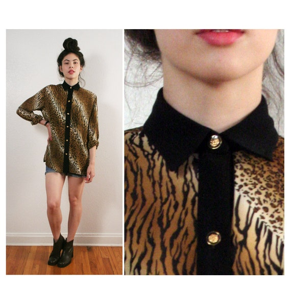 vintage LEOPARD print black contast collar top M L