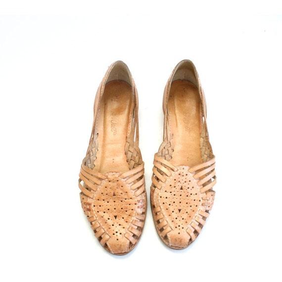 size 8 vintage woven leather huarache sandals