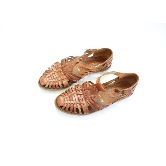 size 8.5 vintage brown leather huarache style sandals