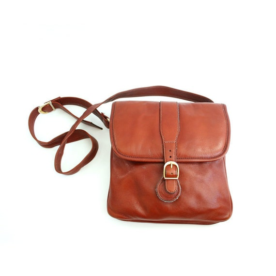 vintage equestrian style leather shoulder bag