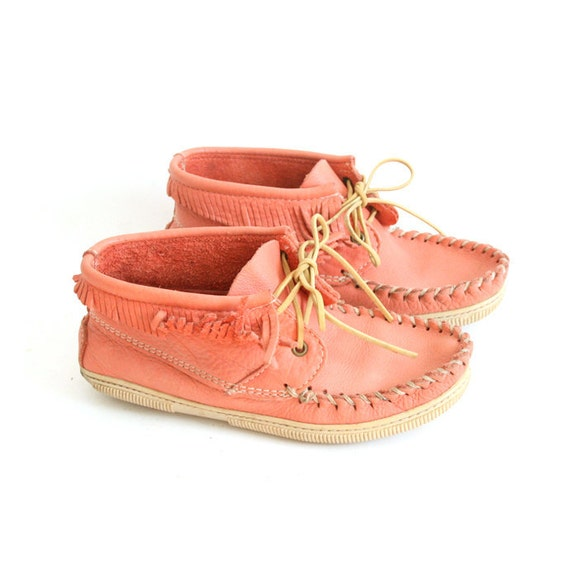 RESERVED size 8 salmon PINK leather moccasins