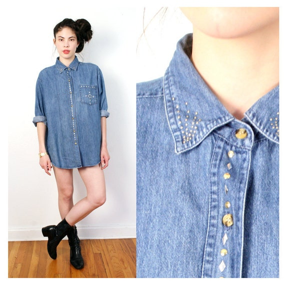 vintage STUDDED collar denim button down top M L