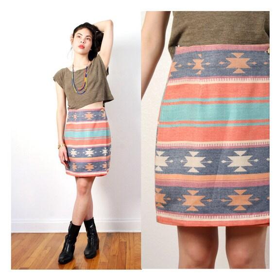 vintage muted southwestern skirt M L