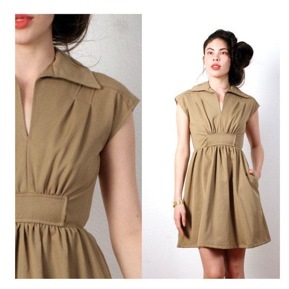 vintage khaki dress xs