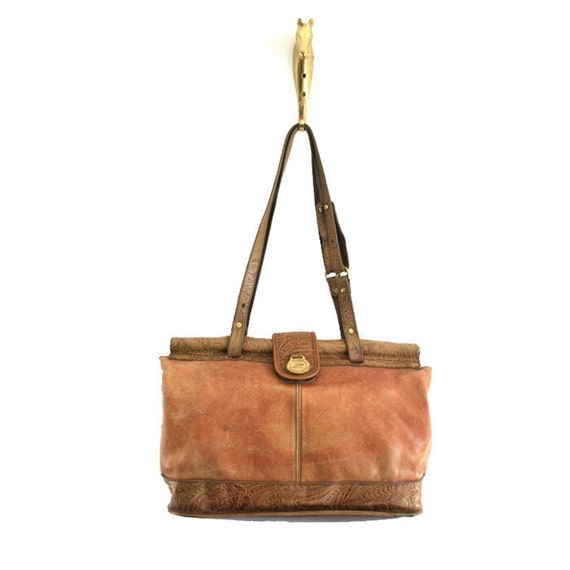 large vintage brown leather bag