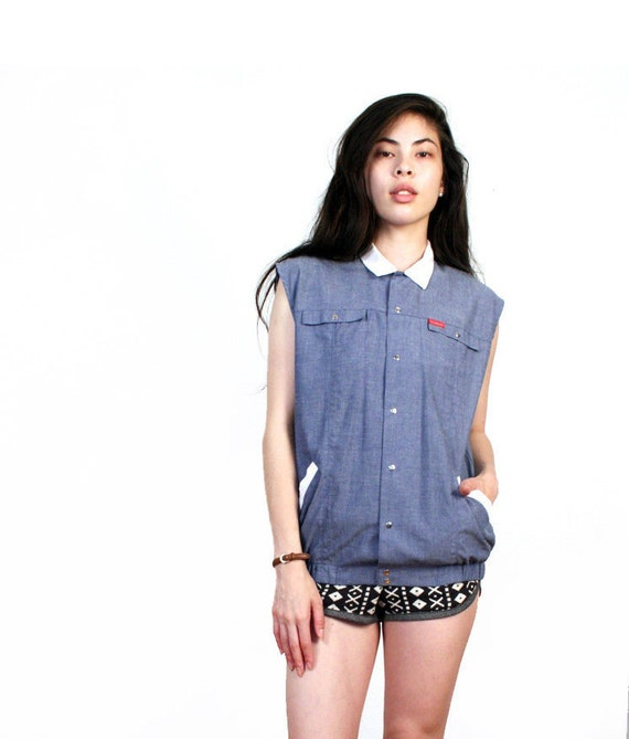 vintage sleeveless denim contrast collar  top s m