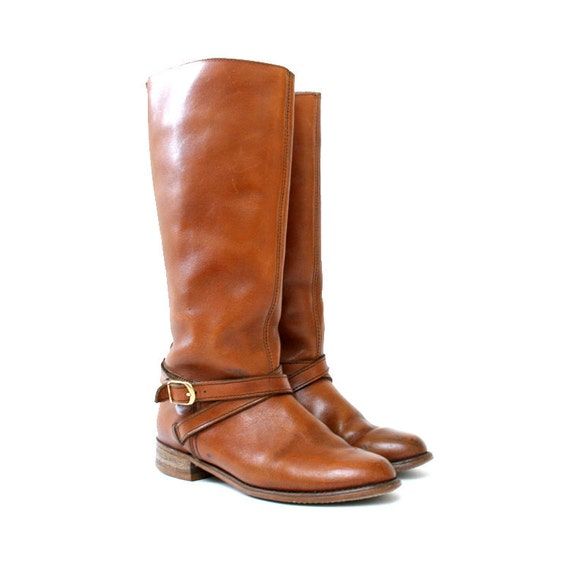 size 6 leather BUCKLE campus boots